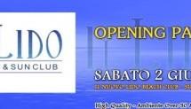 OPENING PARTY LIDO BEACH CLUB – SABATO 2 GIUGNO