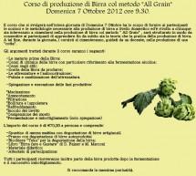 """CORSO DI PRODUZIONE DI BIRRA METODO """"ALL GRAIN"""" – SELARGIUS – DOMENICA 7 OTTOBRE"""