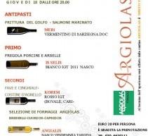 APERICENA CANTINE ARGIOLAS – CRONTA WINE BAR – CAGLIARI – GIOVEDI 18 OTTOBRE