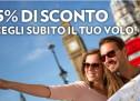 15% SCONTO ALITALIA PER VOLARE IN ITALIA,EUROPA E NORDAFRICA