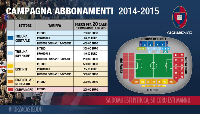 Subscription chionship serie a 2014-2015 cagliari calcio football