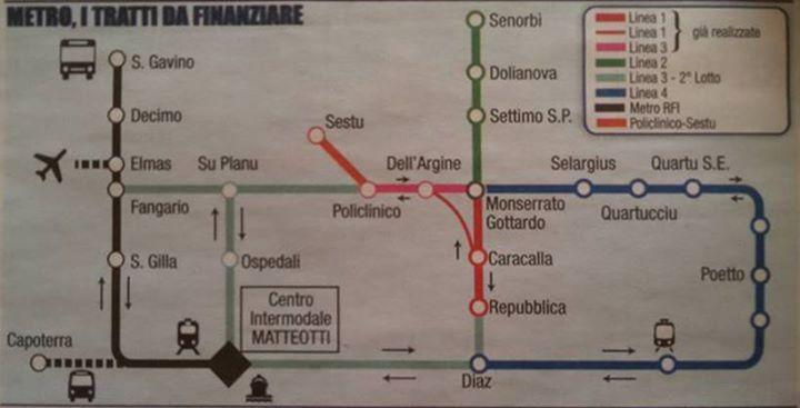ECCO LA PIANTINA DELLE FUTURE LINEE METRO CAGLIARITHIS IS THE MAP OF