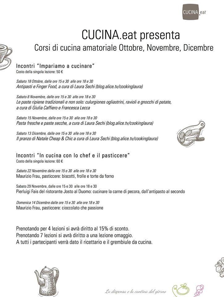 I corsi di cucina eat cagliari da sabato 18 ottobre - Corsi di cucina cagliari ...
