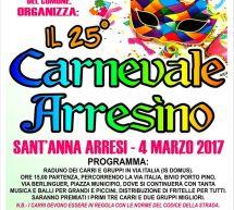25° CARNEVALE ARRESINO – SANT'ANNA ARRESI – SABATO 4 MARZO 2017