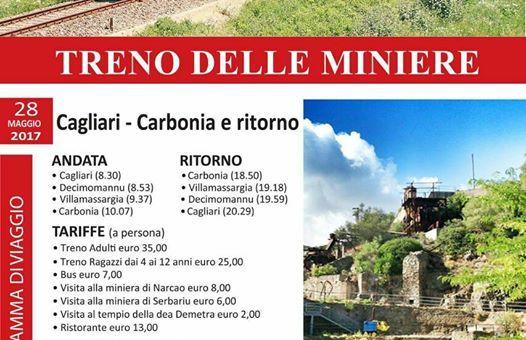IL TRENO DELLE MINIERE CAGLIARI-CARBONIA –  DOMENICA 28 MAGGIO 2017