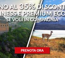 FINO AL 35% DI SCONTO CON ALITALIA SE VOLI IN COMPAGNIA IN BUSINESS E PREMIUM ECONOMY