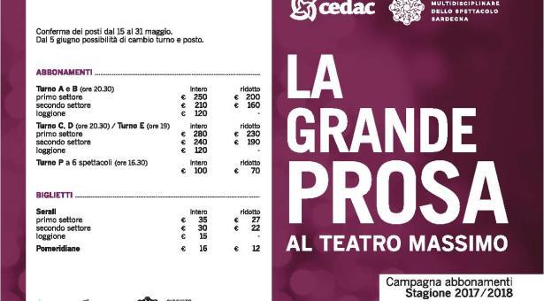 LA GRANDE PROSA AL TEATRO MASSIMO  A CAGLIARI – STAGIONE 2017/2018 – CALENDARIO COMPLETO