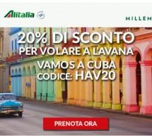 20% SCONTO PER VOLARE A CUBA CON ALITALIA