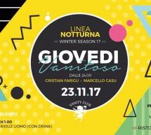 GIOVEDI VANITOSO – LINEA NOTTURNA – CAGLIARI – GIOVEDI 23 NOVEMBRE 2017