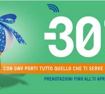 30% SCONTO CON GNV -PRENOTA FINO ALL'11 APRILE 2019