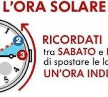 TRA SABATO 26 E DOMENICA 27 OTTOBRE 2019 TORNA L'ORA SOLARE