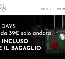 BLACK DAYS ALITALIA – VOLI A PARTIRE DA 39 € – SOLO DAL 26 AL 28 NOVEMBRE 2019